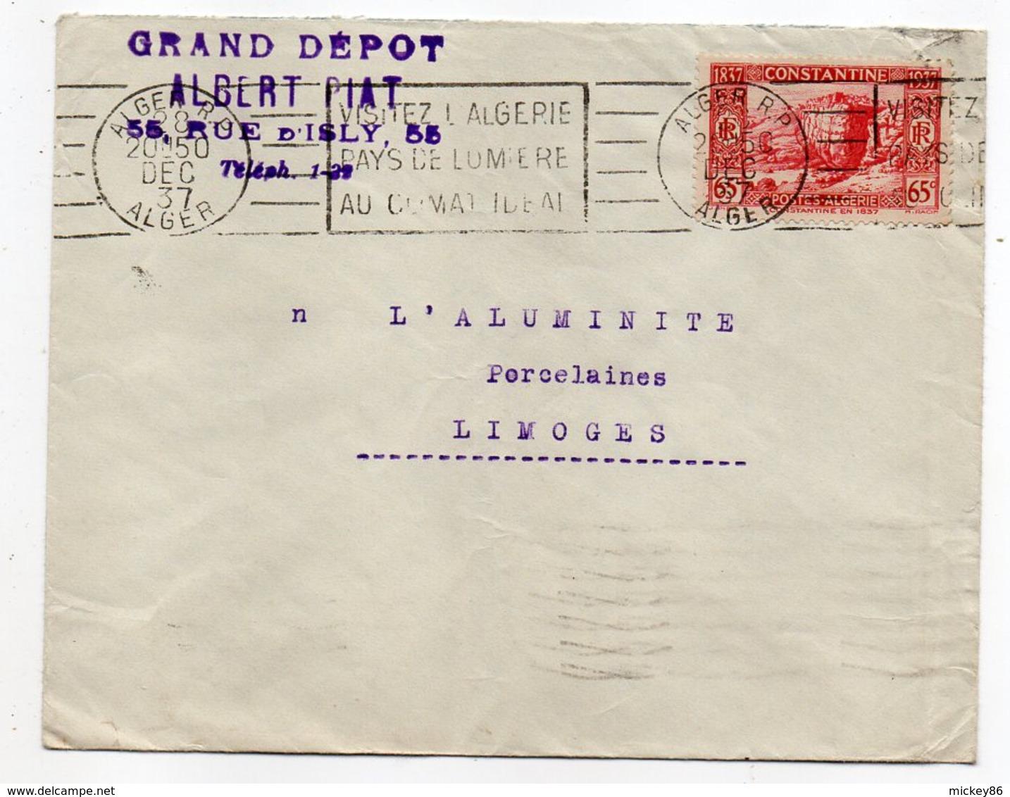 Algérie --1937--Lettre De  ALGER  R.P Pour LIMOGES (France)- Timbre Seul Sur Lettre --Cachet  Mécanique--Gd Dépôt A.Piat - Lettres & Documents