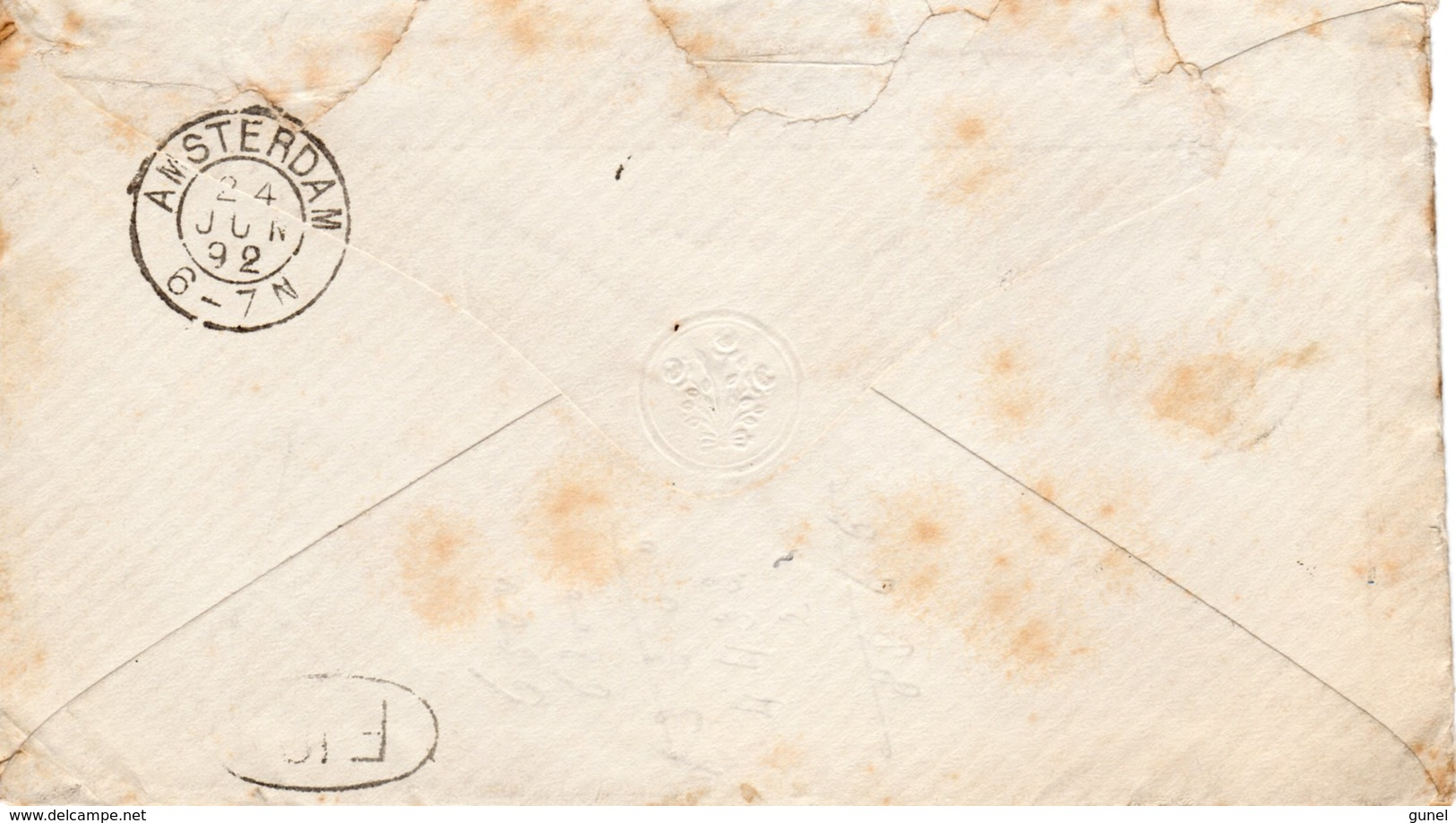 24 JUN 92 Envelopje Met Firmalogo Lokaal Te Amsterdam Met NVPH34 Met Puntstempel 5 - Periode 1891-1948 (Wilhelmina)