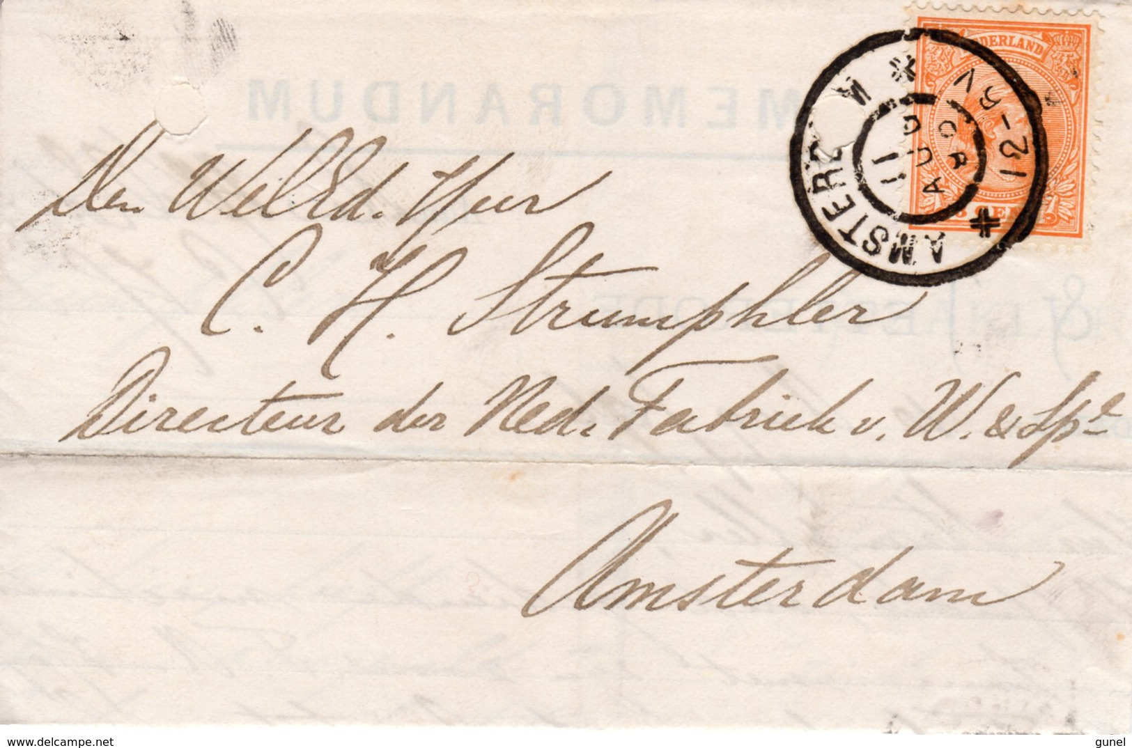 11 AUG 96  Memorandum Lokaal Te Amsterdam Met NVPH34 Met Gr.rond - Brieven En Documenten