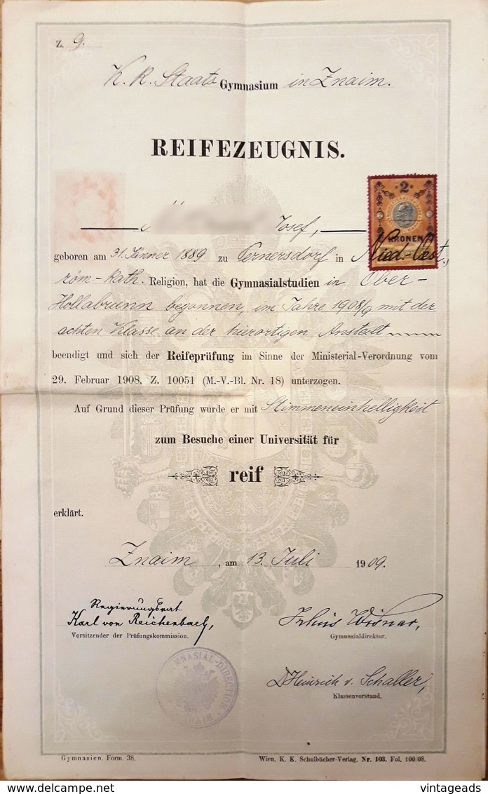 AD062 - Altes Zeugnis Schulzeugnis Reifezeugnis K.K.- Staats-Gymnasium Znaim 1909 - Diplome Und Schulzeugnisse