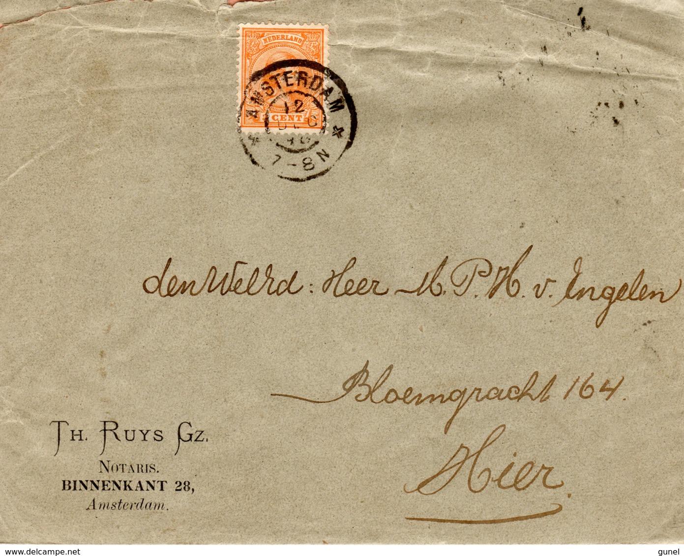 12 DEC 98      Envelop Met Firmalogo Lokaal Te Amsterdam Met NVPH34 Met Grootrond - Periode 1891-1948 (Wilhelmina)