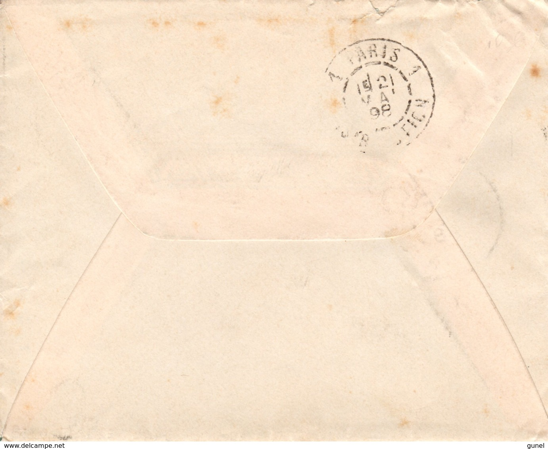 20 Mei 98  Envelopje  Van 's-Gravenhage Naar Parijs Met NVPH34 En Paar NVPH35 Met PARIS 1 DISTRIBUTION - Periode 1891-1948 (Wilhelmina)