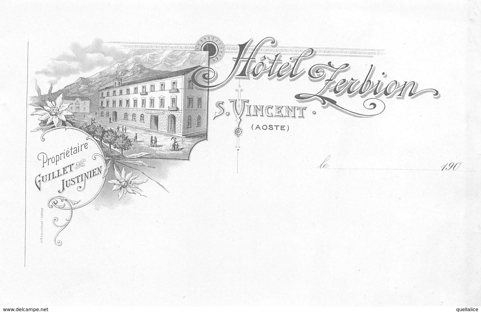 "0669 ""(AO) S. VINCENT - HOTEL ZERBION - PROP. GUILLET JUSTINIEN""  BOZZETTO TIPOGRAFICO PER CARTOLINA ILLUSTRATA - Publicités"