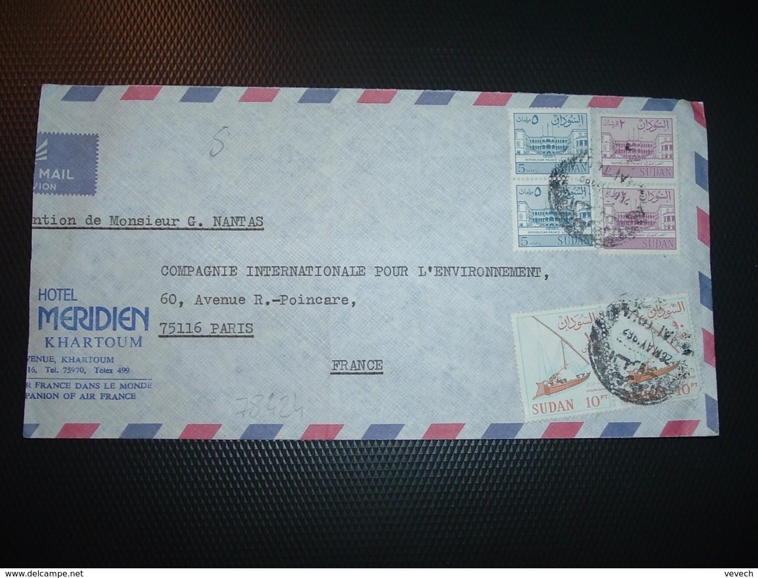 LETTRE Par AVION Pour La FRANCE TP BATEAU VOILIER  Paire + PALACE  Paire +PALACE 2 Paire OBL.26 MAY 1967+ HOTEL MERIDIEN - Soudan (1954-...)