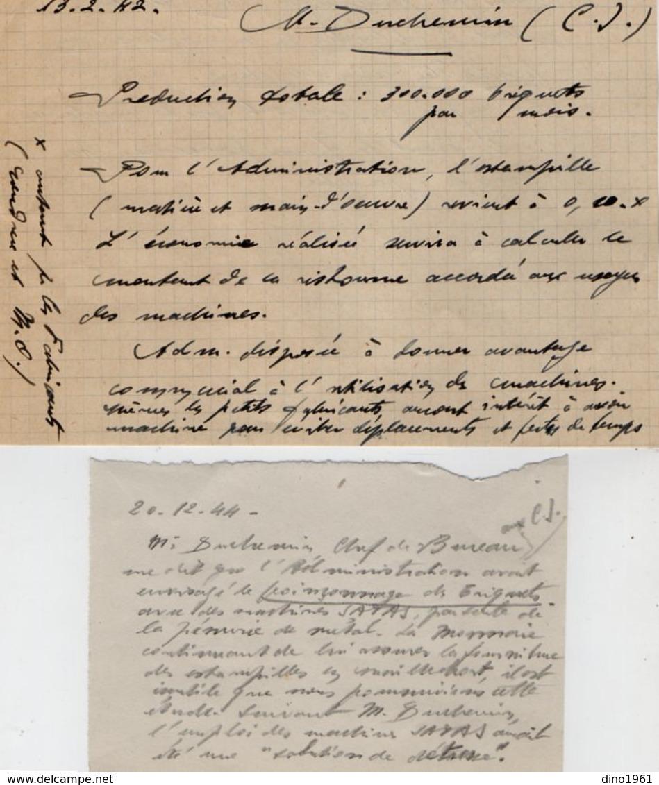 VP13.361 - PARIS 1942 - Lettre De La Chambre Syndicale Des Fabricants De Briquets + La Réponse De La Société S.A.T.A.S. - Documents