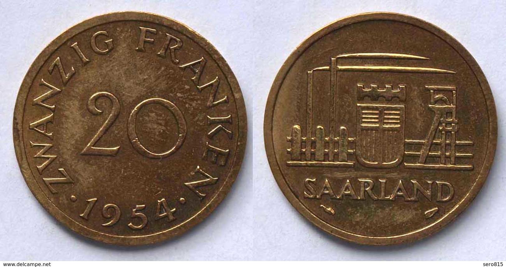 Saar/Saarland 20 Franken Münze 1954   (21982 - Deutschland