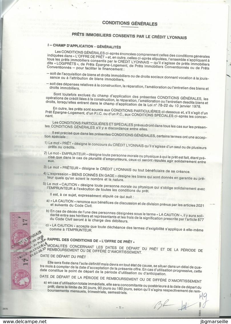 Contrat De Prêt LCL Avec 9 Pages à  2x17fr Fiscal N°488  (1992 ).....à Voir 2 Pages..... - Fiscaux