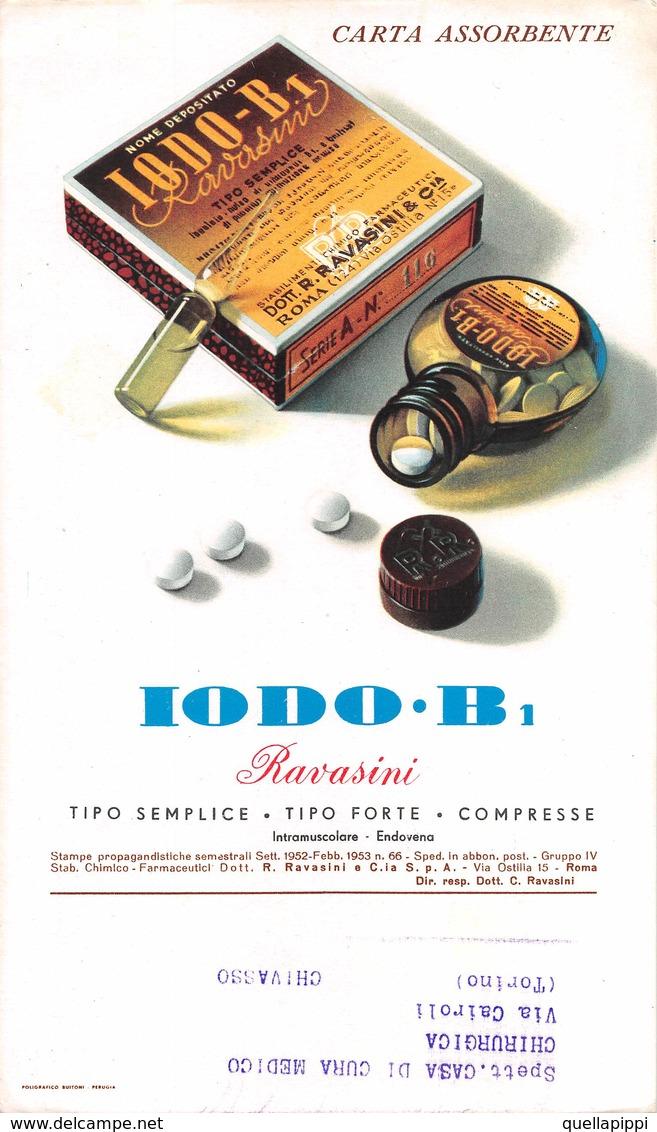 """08835 """"ROMA - IODO-B 1 - MEDICINALE - STABIL.TO CHIMICO FARMACEUTICO - DOTT RAVASINI"""" CARTA ASSORBENTE ORIGINALE - Alimentare"""
