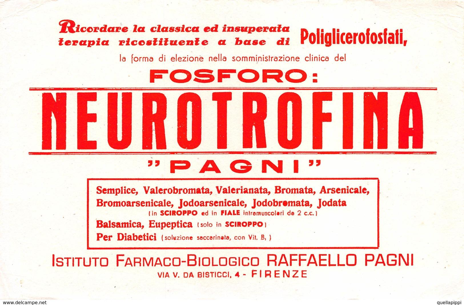 """08841 """"FIRENZE - ISTITUTO FARMACO-BIOLOGICO RAFFAELLO PAGNI - NEUROTROFINA - FOSFORO"""" CARTA ASSORBENTE ORIG. - Alimentare"""