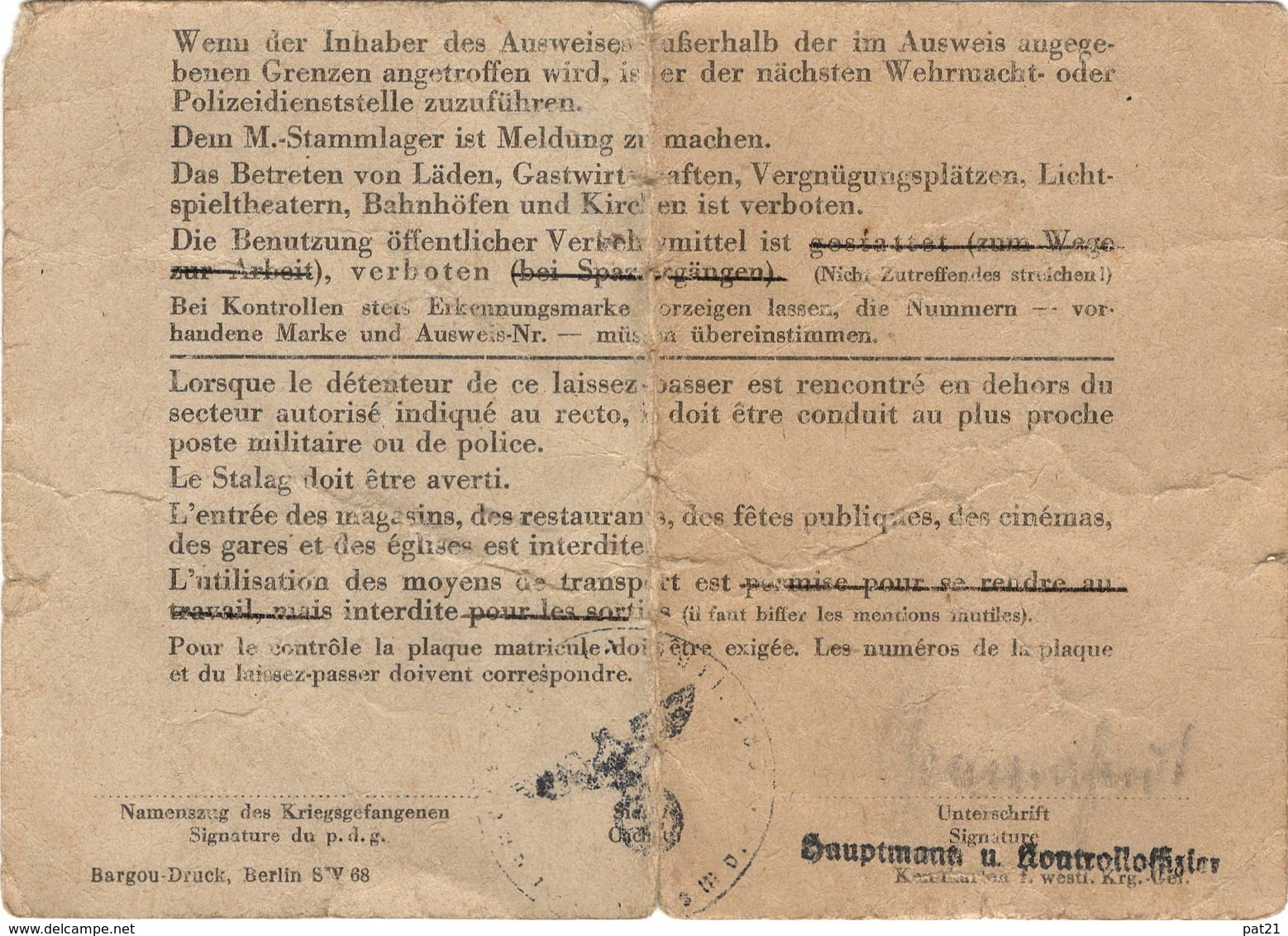 WW2  Laisser Passer Pour Prisonnier De Guerre (P D G ) Français Et Belges Qui Travaillent  1944 - Documents Historiques