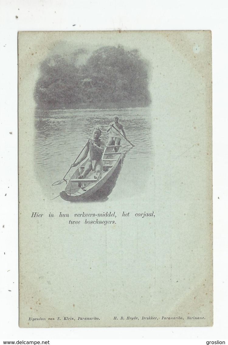 (SURINAME) HIER IN HUN VERKEERS-MIDDEL, HET CORJAAL, TWEE BOSCHNEGERS - Surinam