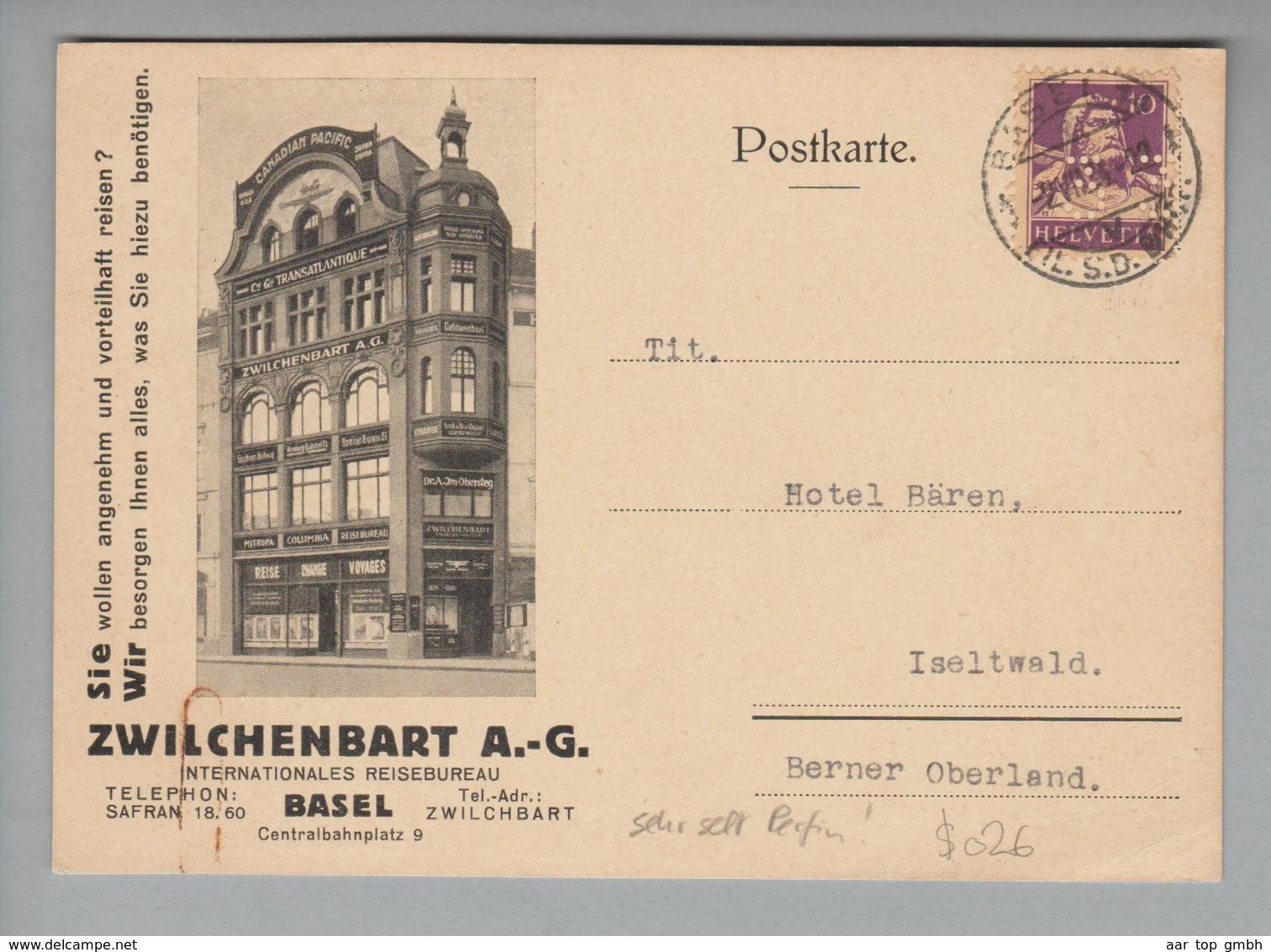 """Schweiz 1934-06-02 Illustrierte Postkarte M.Perfin """"33"""" #$026 Zwilchenbart AG Basel - Suisse"""