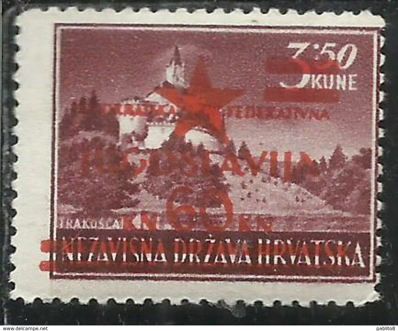 YUGOSLAVIA LOCAL OVERPRINTED OF HRVATSKA CROATIA CROAZIA SOPRASTAMPA LOCALE 1945 TRAKOSCAN CASTLE 60 On 3.50k MNH - 1945-1992 Repubblica Socialista Federale Di Jugoslavia