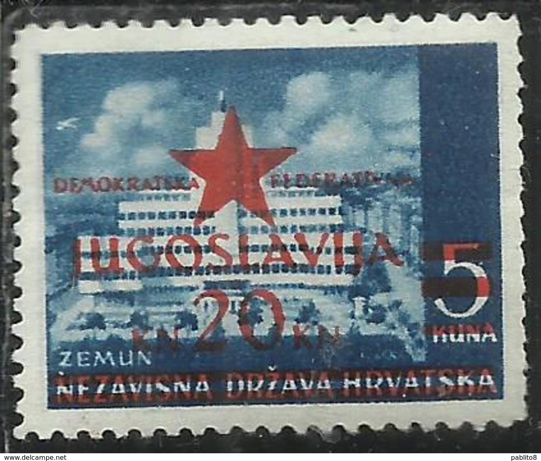 YUGOSLAVIA LOCAL OVERPRINTED OF HRVATSKA CROATIA CROAZIA SOPRASTAMPA LOCALE 1945 ZEMUN 20 On 5k MNH - 1945-1992 Repubblica Socialista Federale Di Jugoslavia