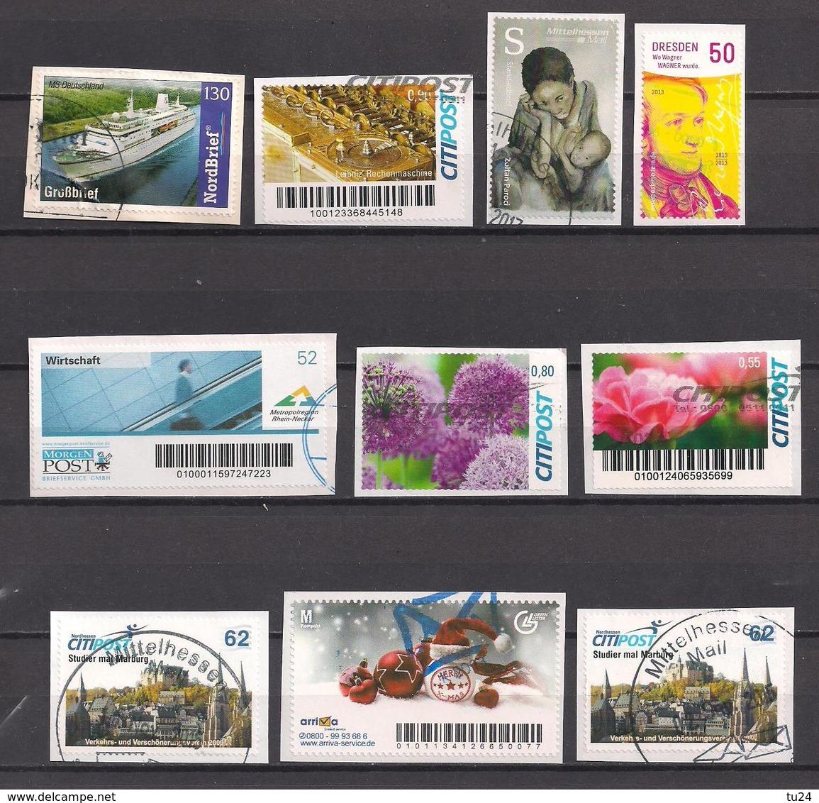 Privatpost  10 Verschiedene Marken  Gest. / Used  (8ac08) - Privé- & Lokale Post