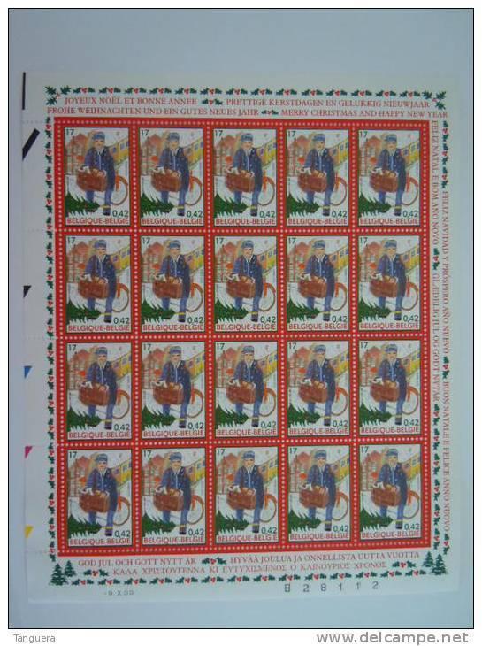België Belgique Belgium 2000 Kerstmis Nieuwjaar Posbode Velletje Noël Nouvel An Facteur Feuillet 20 X 2942 MNH ** - Hojas Completas