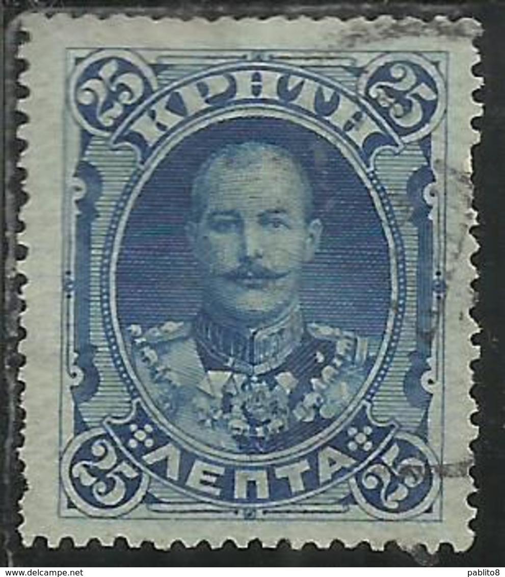 CRETE CRETA 1901 PRINCE GEORGE OF GREECE LEPTA 25L  USATO USED OBLITERE' - Creta
