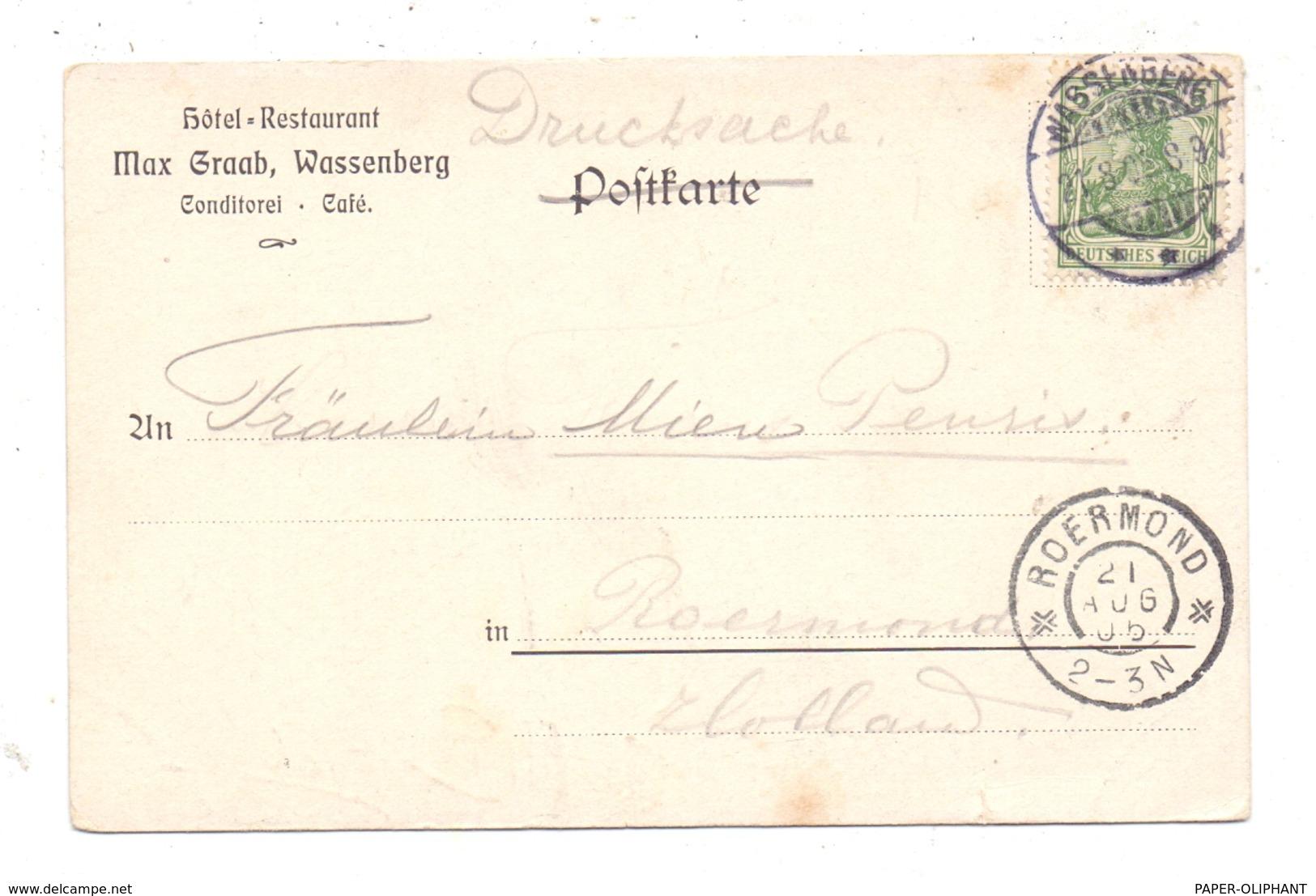 5143 WASSENBERG, Künstler-Karte J. Groothe, Düsseldorf, 1905, Kl. Einriss - Heinsberg