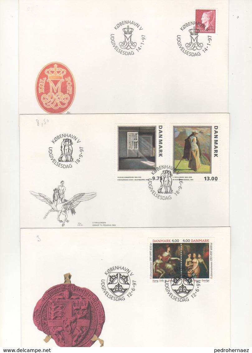 Dinamarca- Sobres Primer Dia  -Sello Y Matasello-  Año 97   ( 3 Sobres Primer Dia)  Según Foto - Lotes & Colecciones