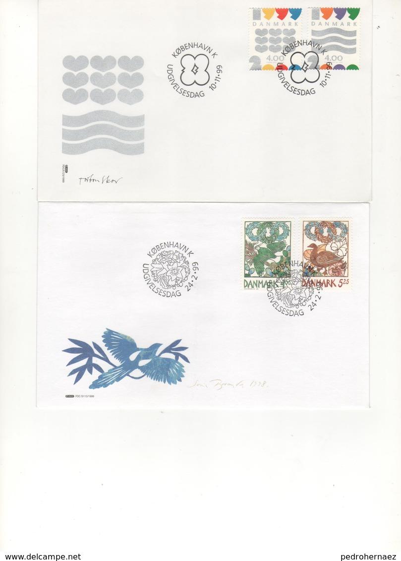 Dinamarca- Sobres Primer Dia  -Sello Y Matasello-  Año 99   ( 2 Sobres Primer Dia)  Según Foto - Lotes & Colecciones
