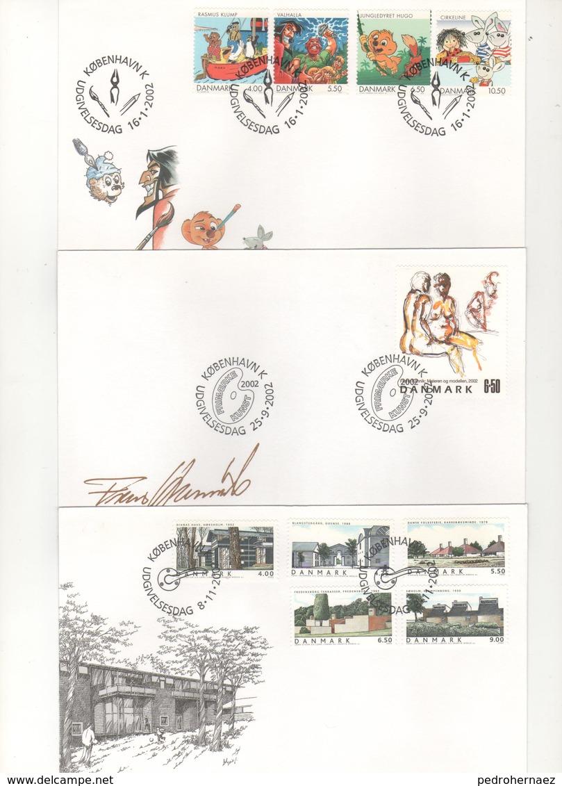 Dinamarca- Sobres Primer Dia  -Sello Y Matasello-  Año 2002   ( 3 Sobres Primer Dia)  Según Foto - Lotes & Colecciones