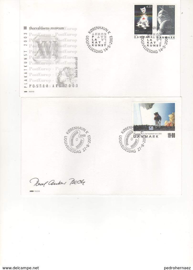 Dinamarca- Sobres Primer Dia  -Sello Y Matasello-  Año 2003   ( 2 Sobres Primer Dia)  Según Foto - Lotes & Colecciones