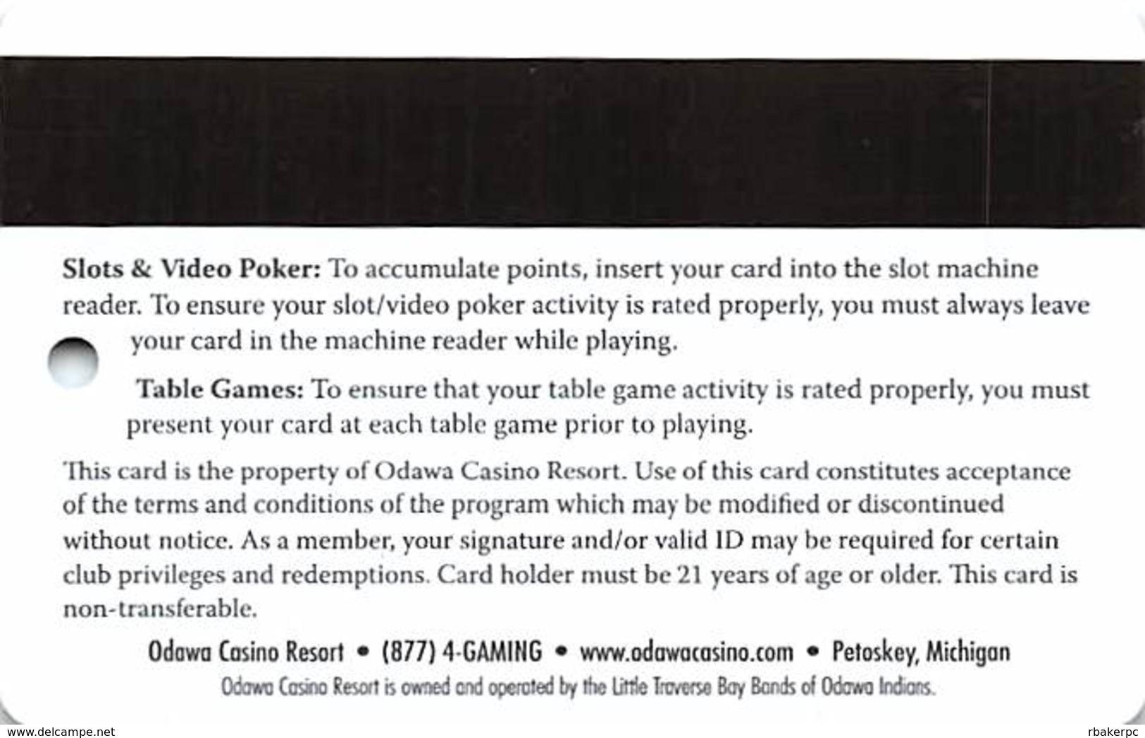 Odawa Casino Petoskey, MI - Slot Card - Casino Cards