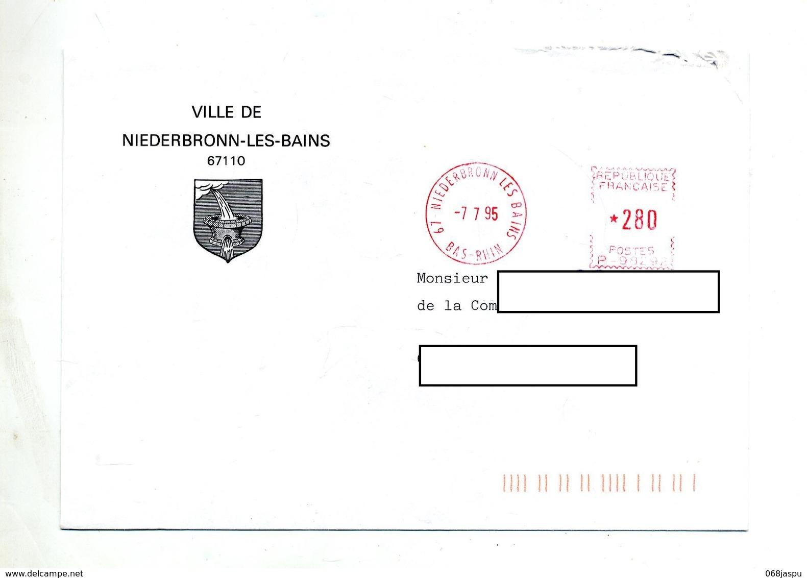 Lettre Machine Niederbronn Entete Mairie - Annullamenti Meccaniche (Varie)