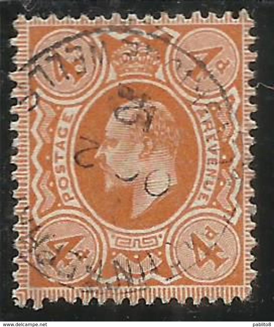 GREAT BRITAIN GRAN BRETAGNA 1909 1910 KING EDWARD VII RE EDOARDO 4p USATO USED OBLITERE' - 1902-1951 (Re)