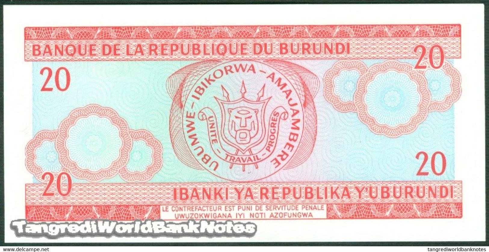 TWN - BURUNDI 27d6 - 20 Francs 1.11.2007 Prefix DW UNC - Burundi