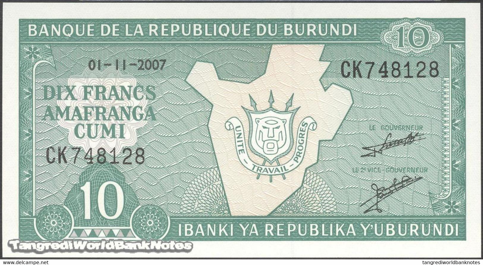 TWN - BURUNDI 33e2 - 10 Francs 1.11.2007 Prefix CK UNC - Burundi