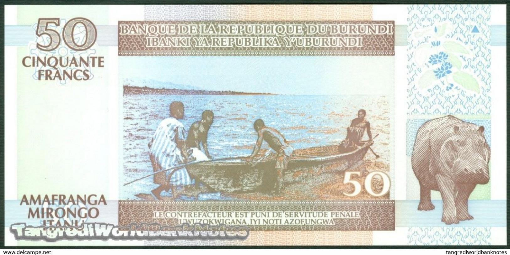 TWN - BURUNDI 36g - 50 Francs 1.11.2007 Prefix DX UNC - Burundi