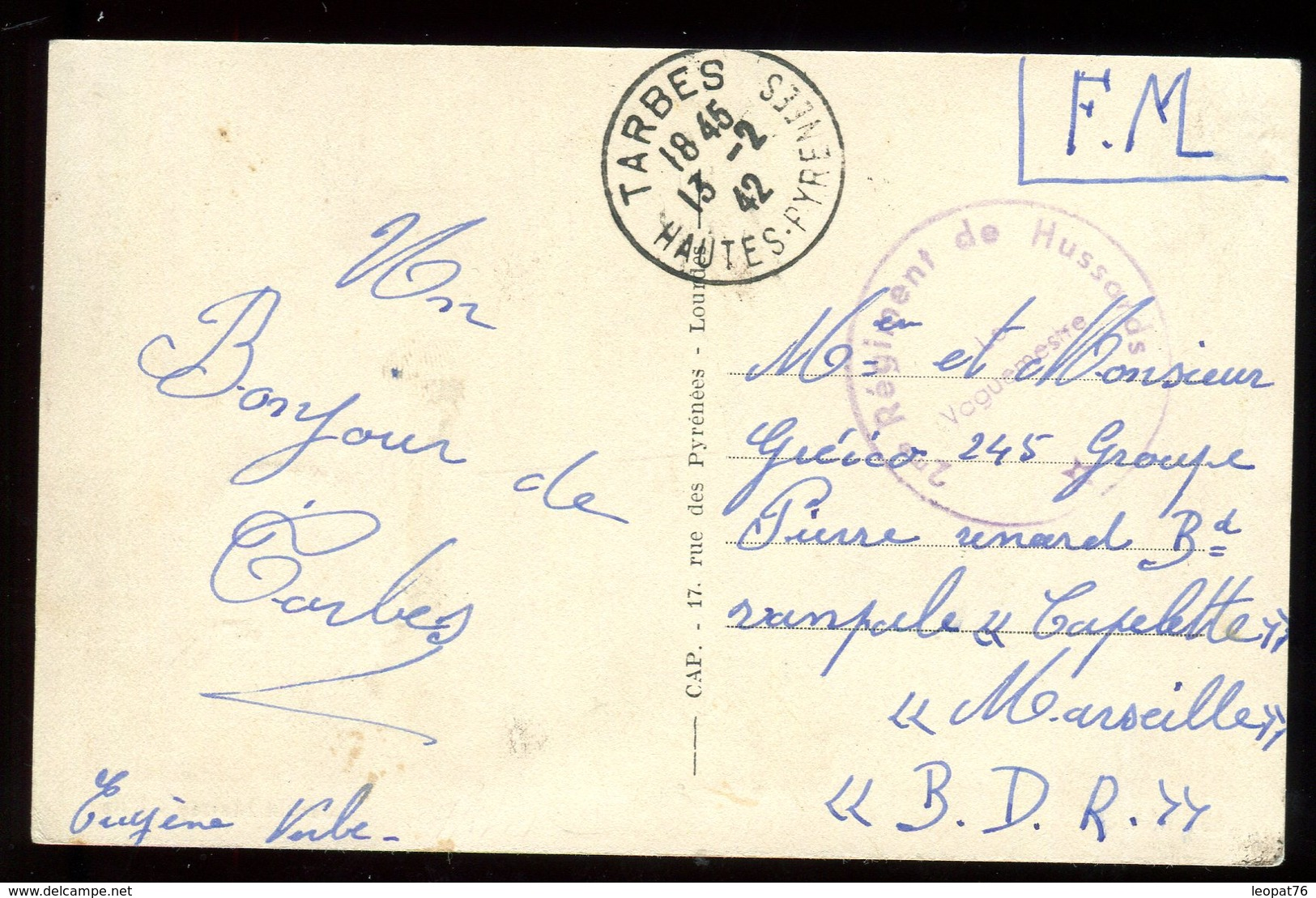 Carte Postale En FM De Tarbes Pour Marseille En 1942 - N152 - Guerre De 1939-45