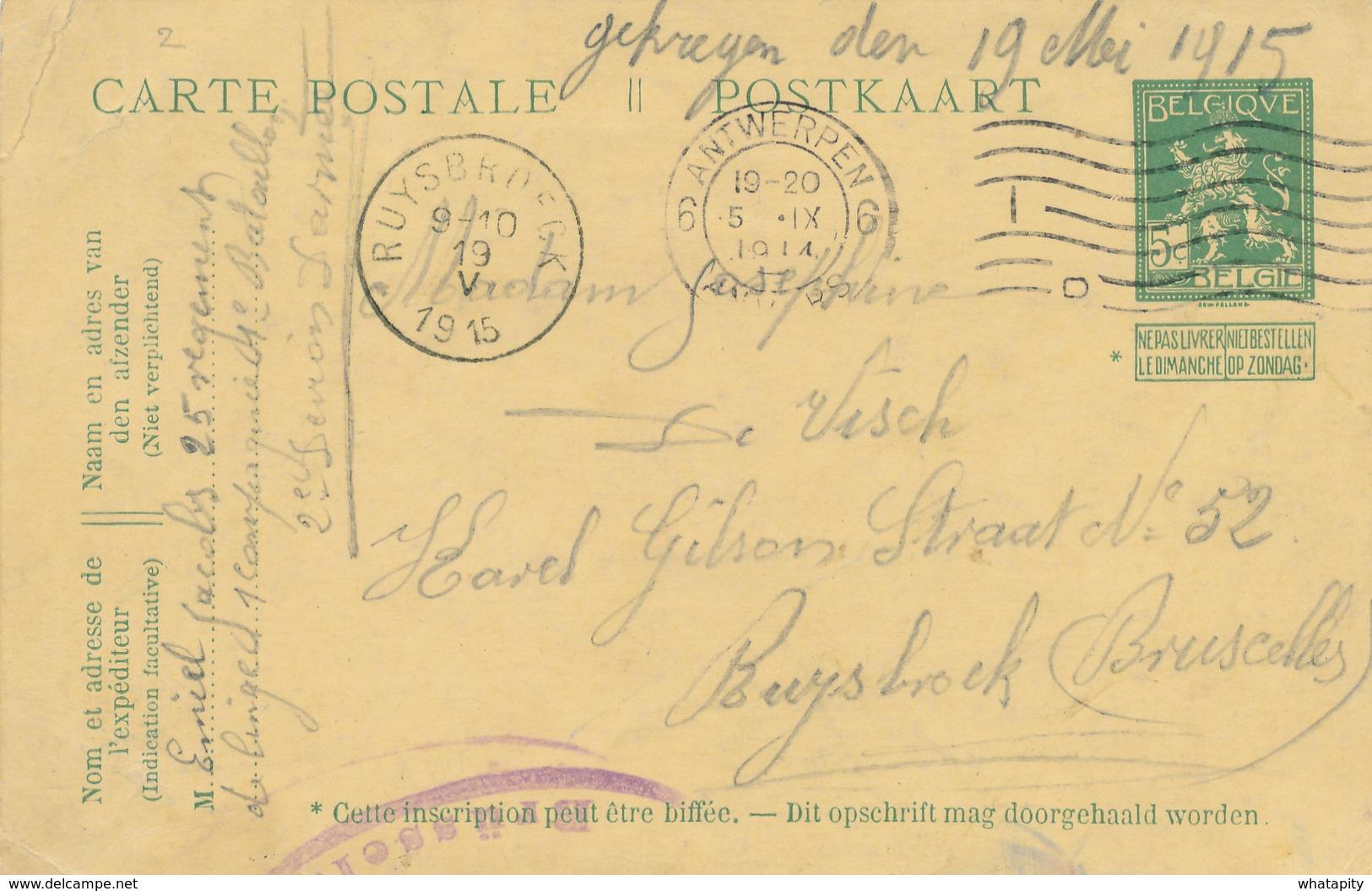 550/27 - PREMIERS MOIS DE GUERRE - Entier Pellens KIEL Via ANTWERPEN 5 IX 1914 Vers RUYSBROECK - Arrivée 19 Mai 1915 - Invasión