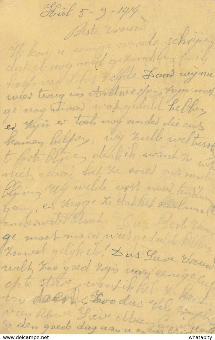 550/27 - PREMIERS MOIS DE GUERRE - Entier Pellens KIEL Via ANTWERPEN 5 IX 1914 Vers RUYSBROECK - Arrivée 19 Mai 1915 - Invasion