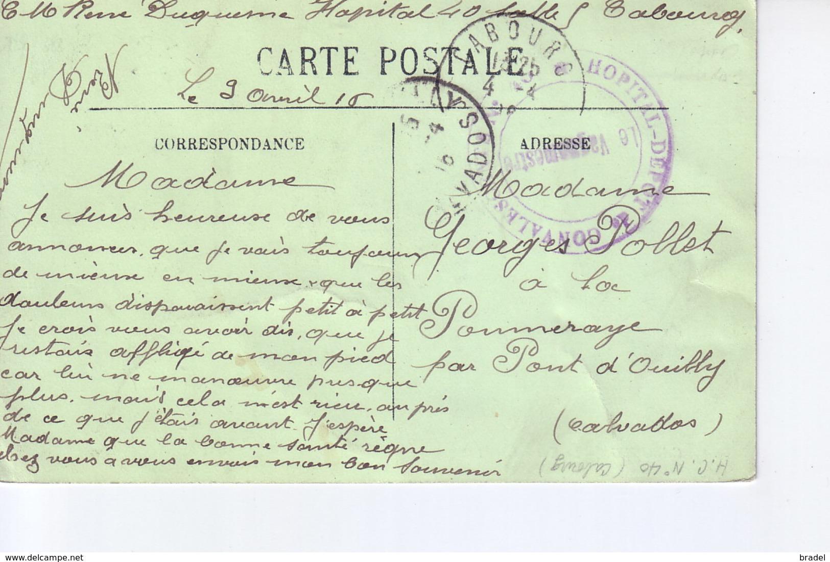 Cabourg  Avec Cachet Hopital Dépôt De Convalescents N°40 1916 - Cabourg