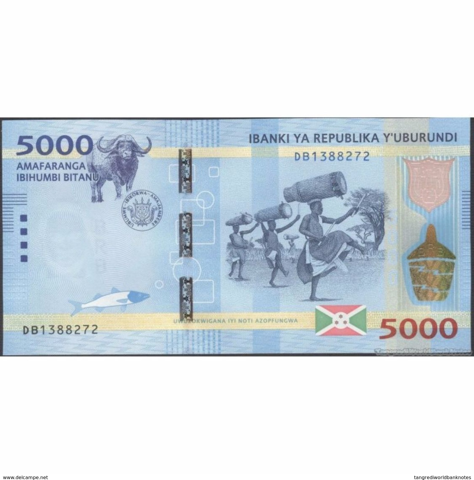 TWN - BURUNDI 53 - 5000 5.000 Francs 15.1.2015 Prefix DB UNC - Burundi