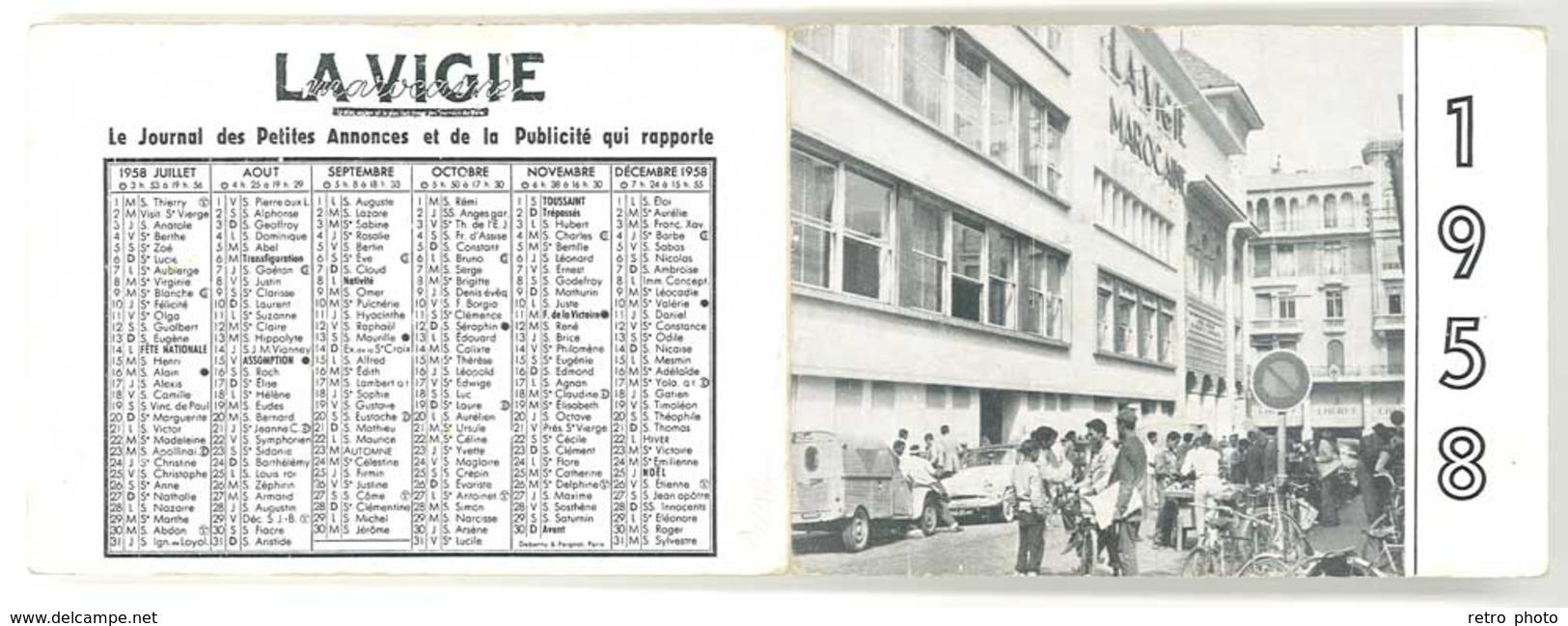 Calendrier Dépliant 1958, La Vigie Marocaine, Le Grand Quotidien Marocain ( Citroën 2 CV Fourgon ) - Calendriers