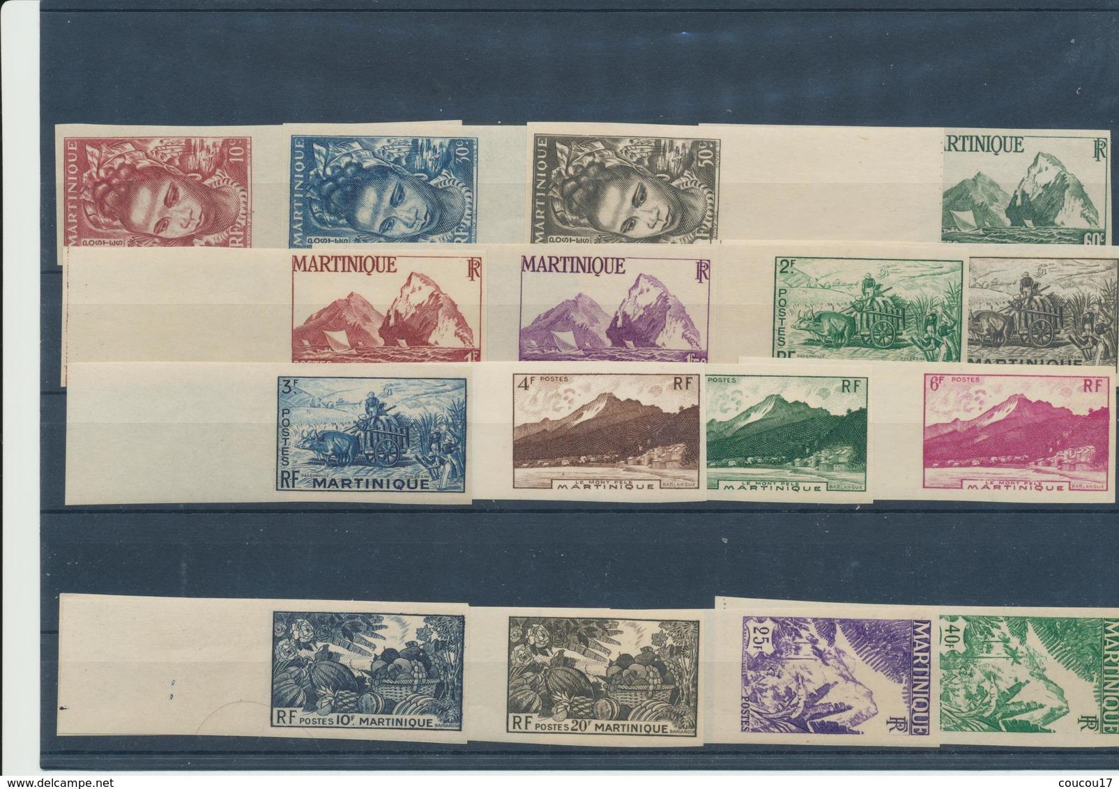 Martinique 1947  ( Série Complète - 17 T.  Non Dentelés - BdF)  ** Luxe  TRES RARE - Martinique (1886-1947)