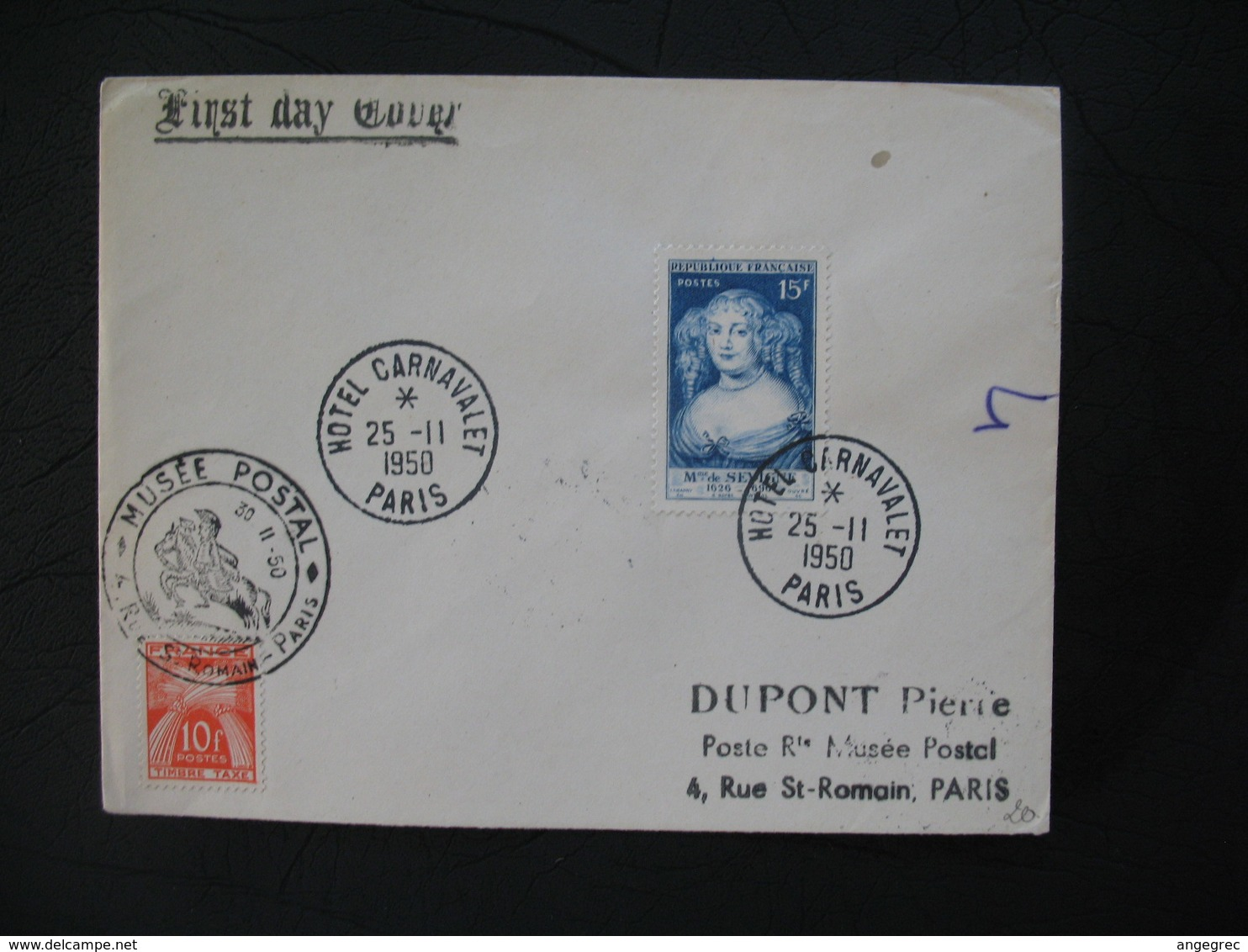 FDC  1950  N° 874 Madame De Sévigné Avec  Timbre Taxe  à Voir - FDC