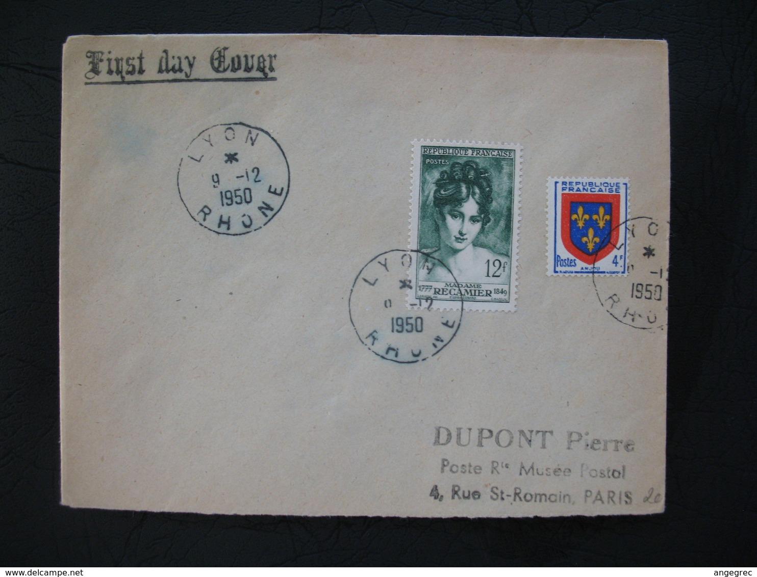 FDC  1950  N° 875  Madame Récamier  à Voir - 1950-1959