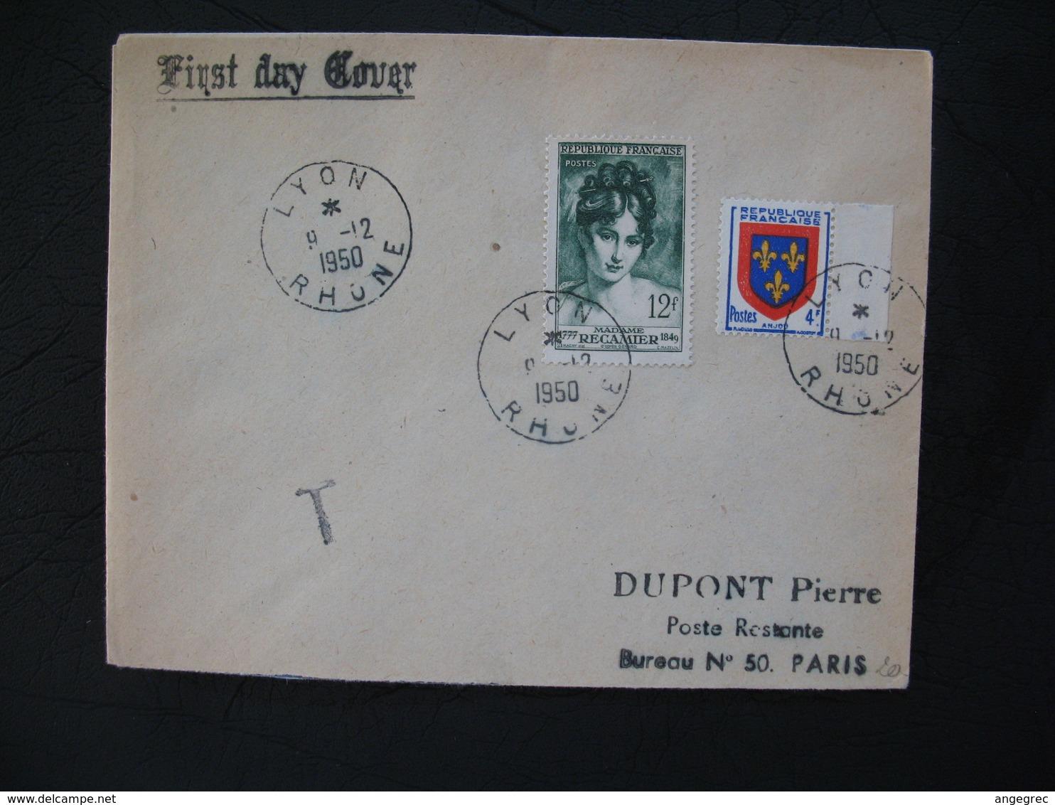 FDC  1950  N° 875  Madame Récamier  Taxée  à Voir - 1950-1959