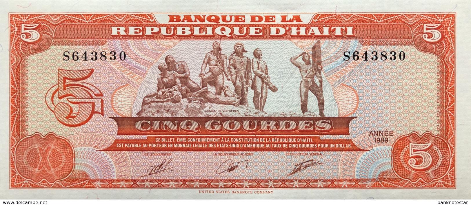 Haiti 5 Gourdes, P-255a (1989) - UNC - Haiti