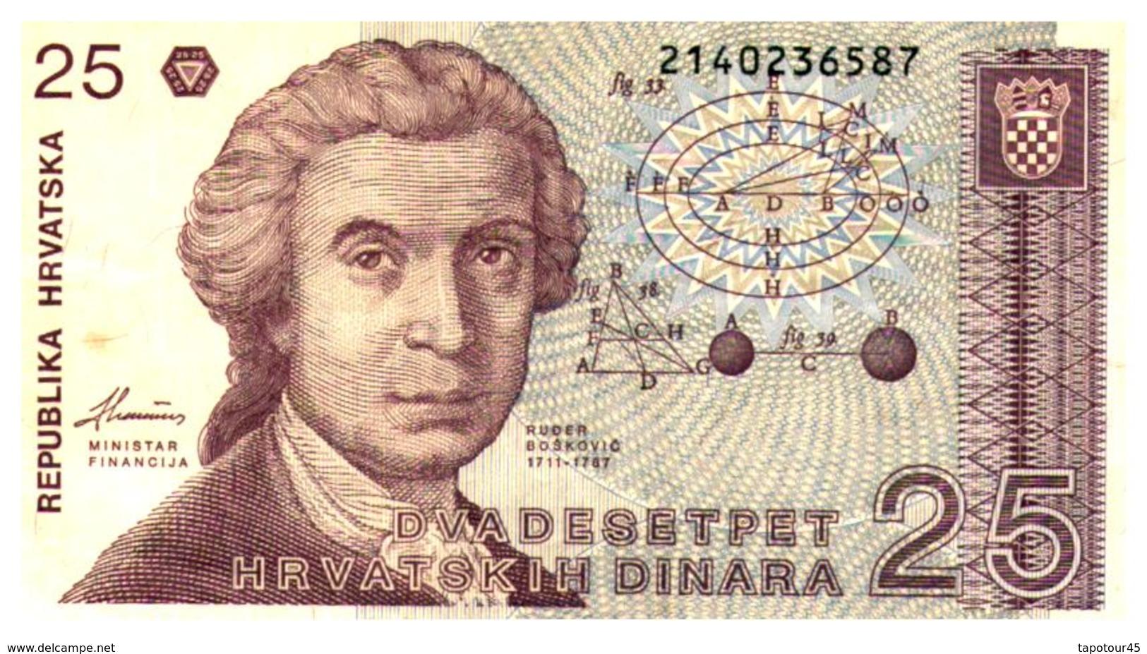 Billets >  Croatie  > 25 Dinara 1991 - Croatie