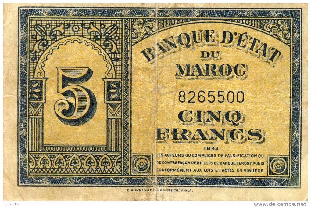 BILLETS - MAROC - Billet De 5F Daté 1943 - Maroc