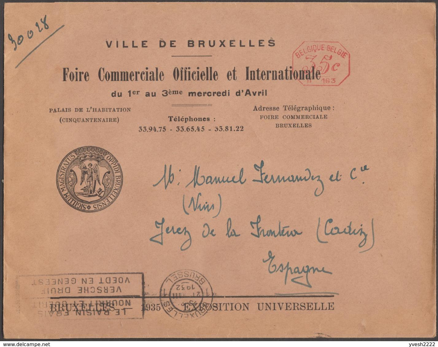 Belgique 1935. Empreinte De Machine à Affranchir Du Bureau De L'Exposition Universelle. Lettre Pour L'Espagne - 1935 – Brüssel (Belgien)