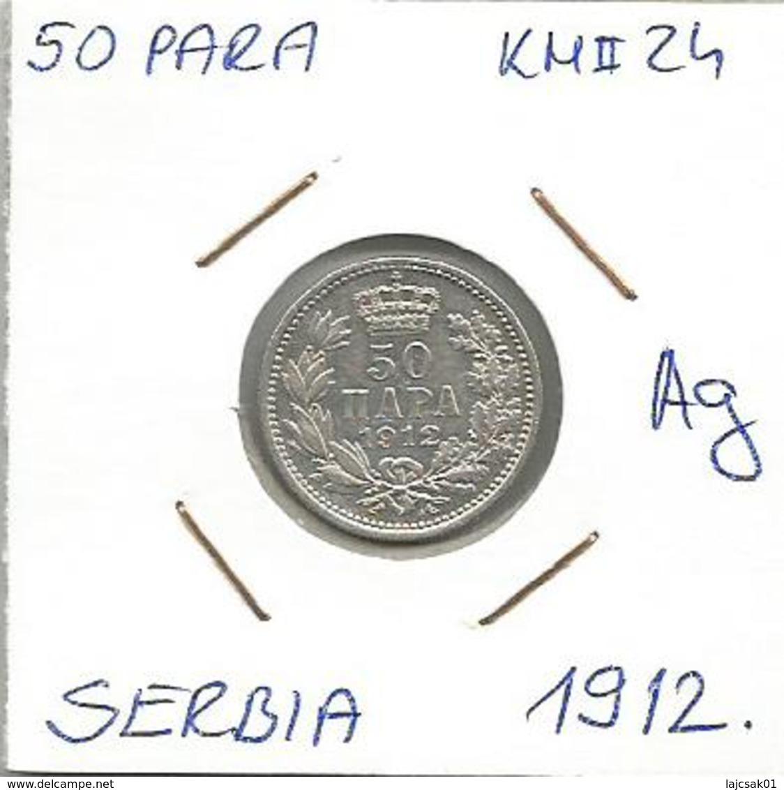 Gh6 Serbia 50 Para 1912. KM#24 Silver Ag Plata Argent - Serbie