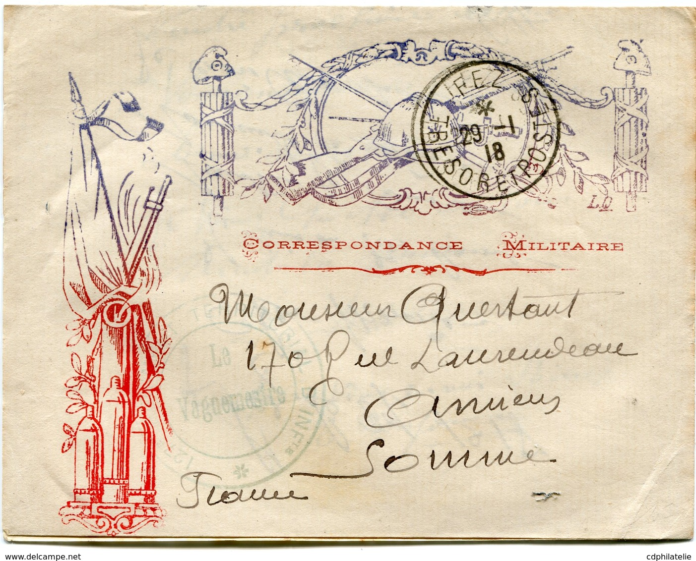 MAROC LETTRE ILLUSTREE  CORRESPONDANCE MILITAIRE DEPART FEZ 29-1-18 TRESOR ET POSTES POUR LA FRANCE.... - Marcophilie (Lettres)