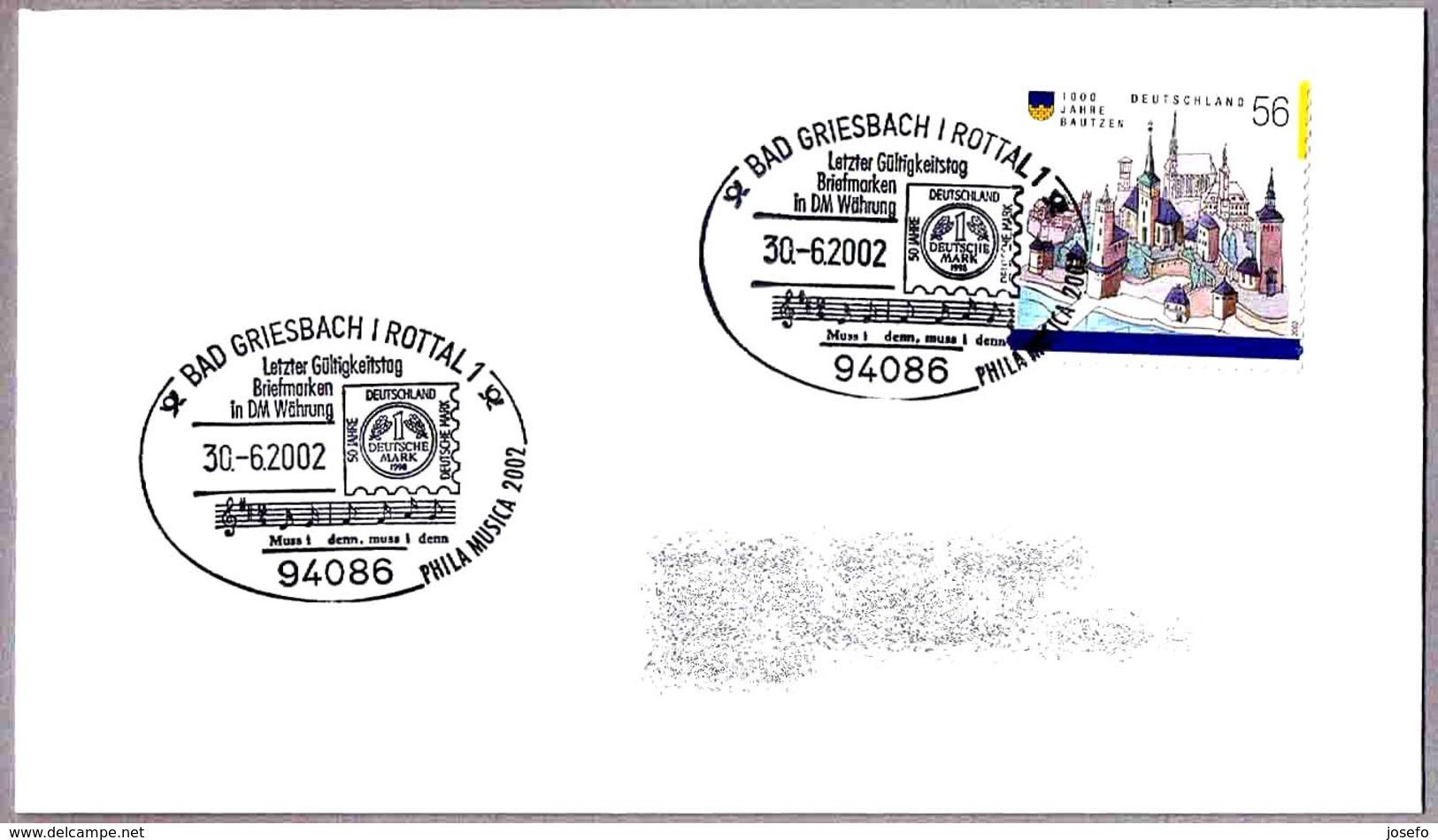 ULTIMO DIA DE VALIDEZ DE SELLOS EN DM - Last Day Of Validity Of Stamps In DM. Bad Griesbach 2002 - Correo Postal