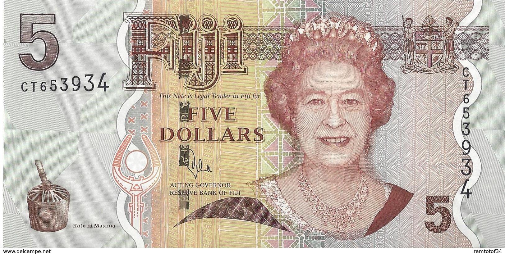 ILE FIDJI - 5 Dollars 2012 - UNC - Pick 110b - Fidji